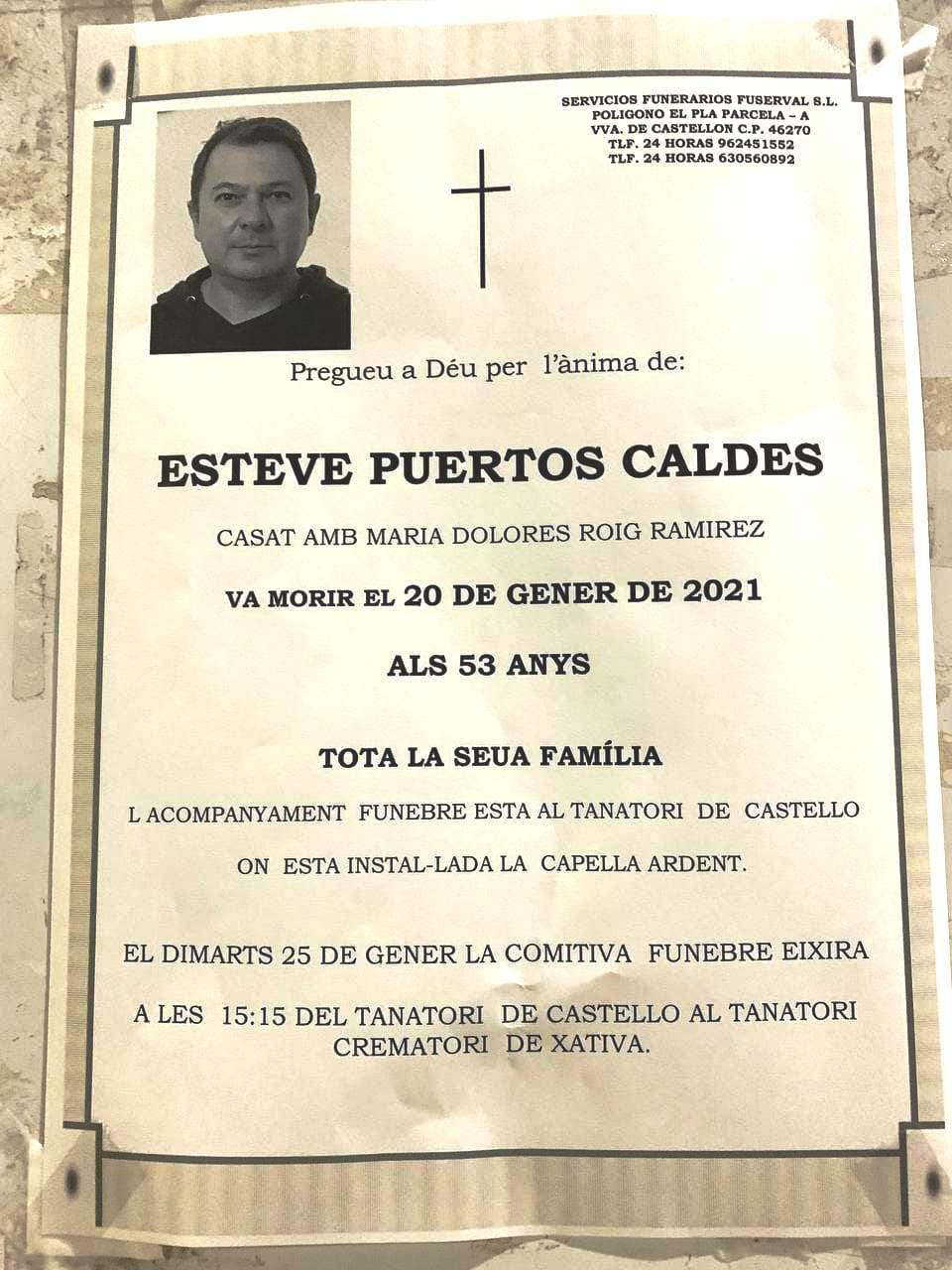 Obituari - ESTEVE PUERTOS CALDES