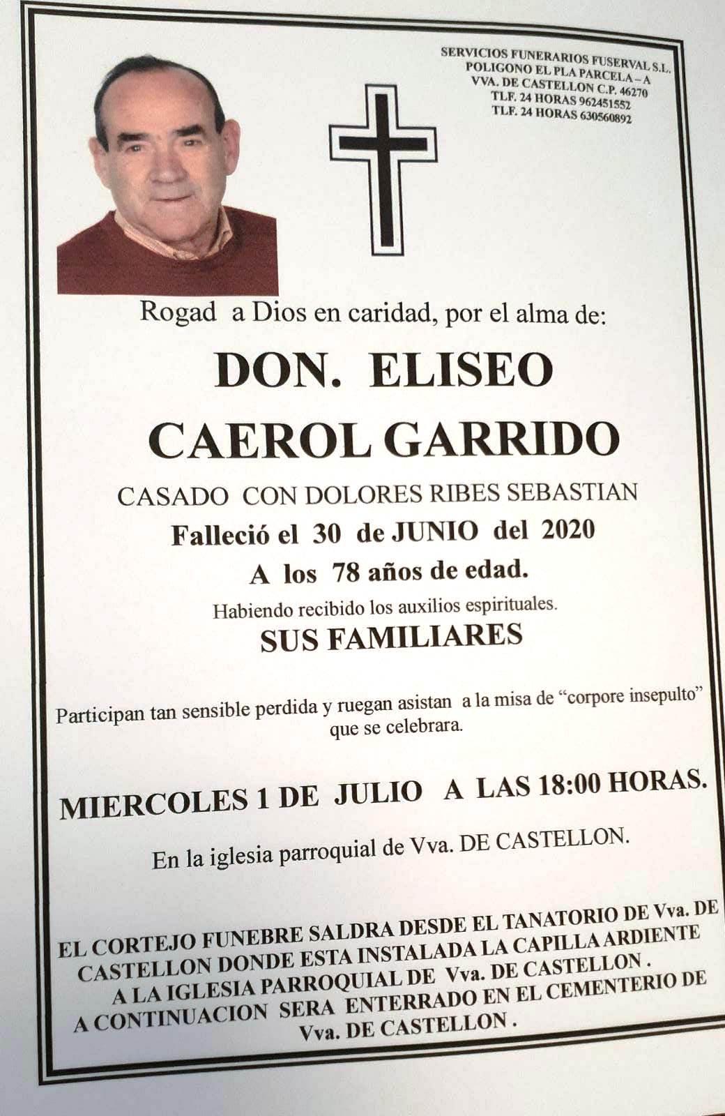 Obituari - ELISEO CAEROL GARRIDO