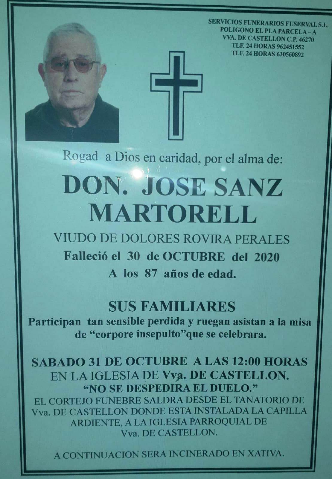Obituari - JOSE SANZ MARTORELL