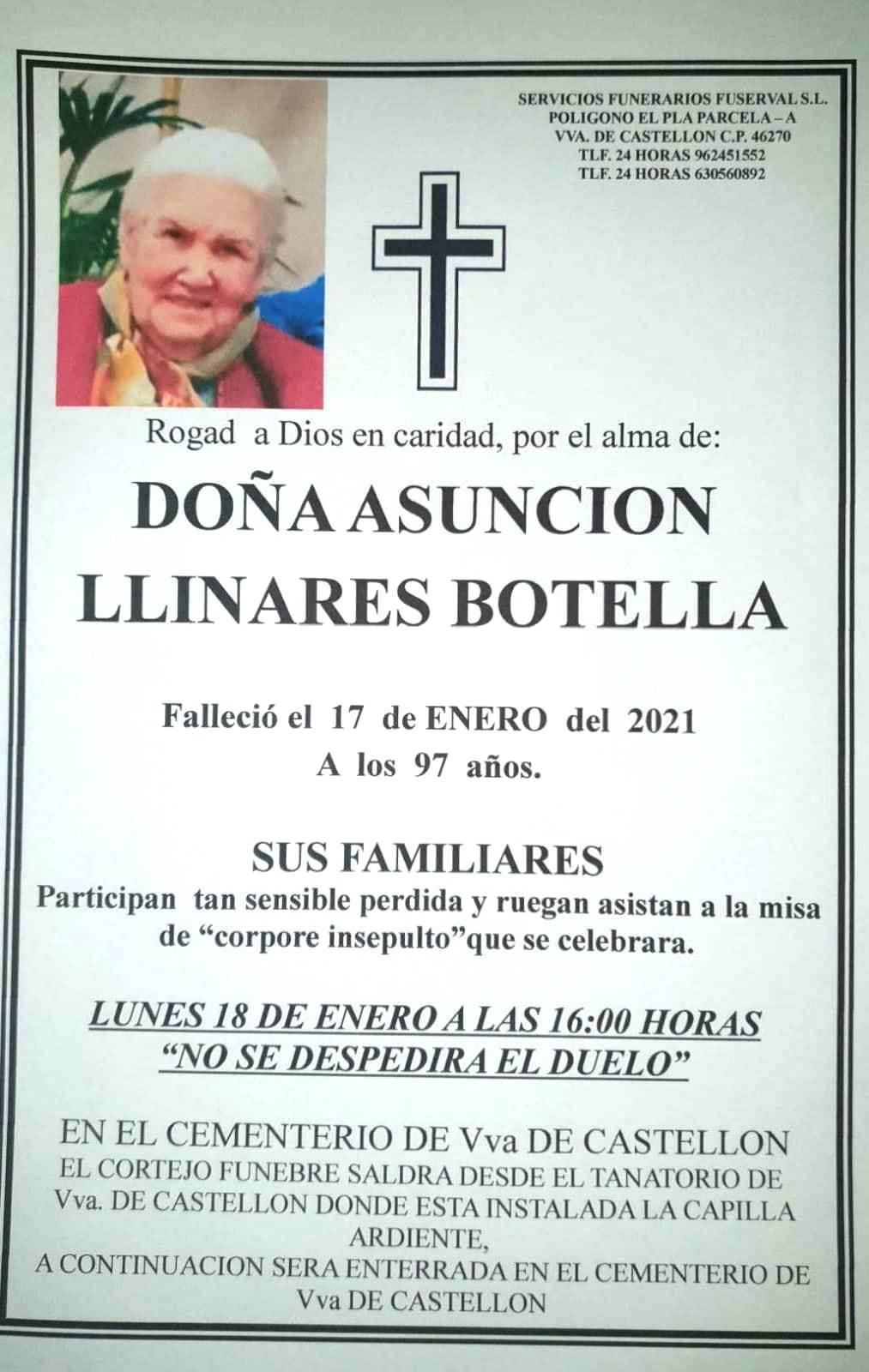 Obituari - ASUNCIÓN LLINARES BOTELLA