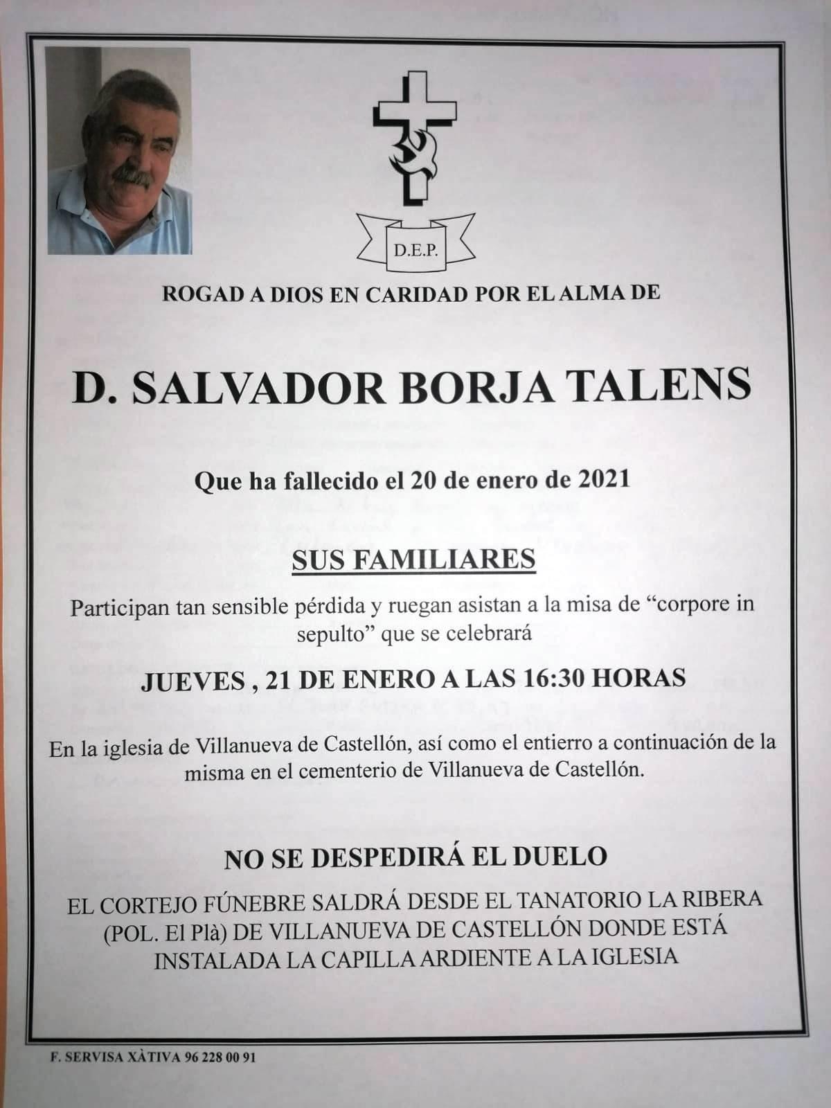 Obituari - SALVADOR BORJA TALENS