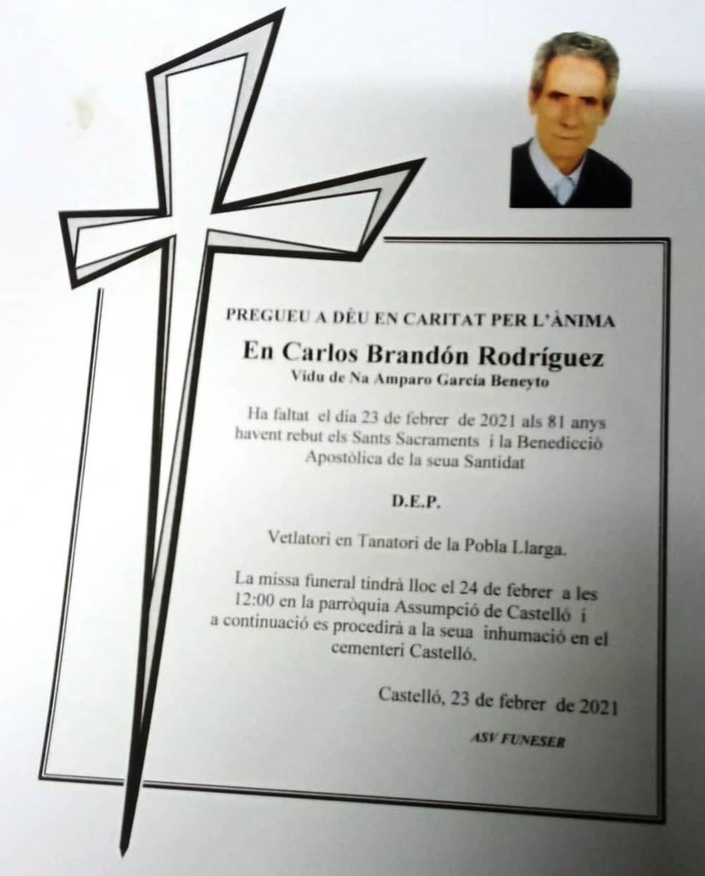 Obituari - CARLOS BRANDÓN RODRÍGUEZ
