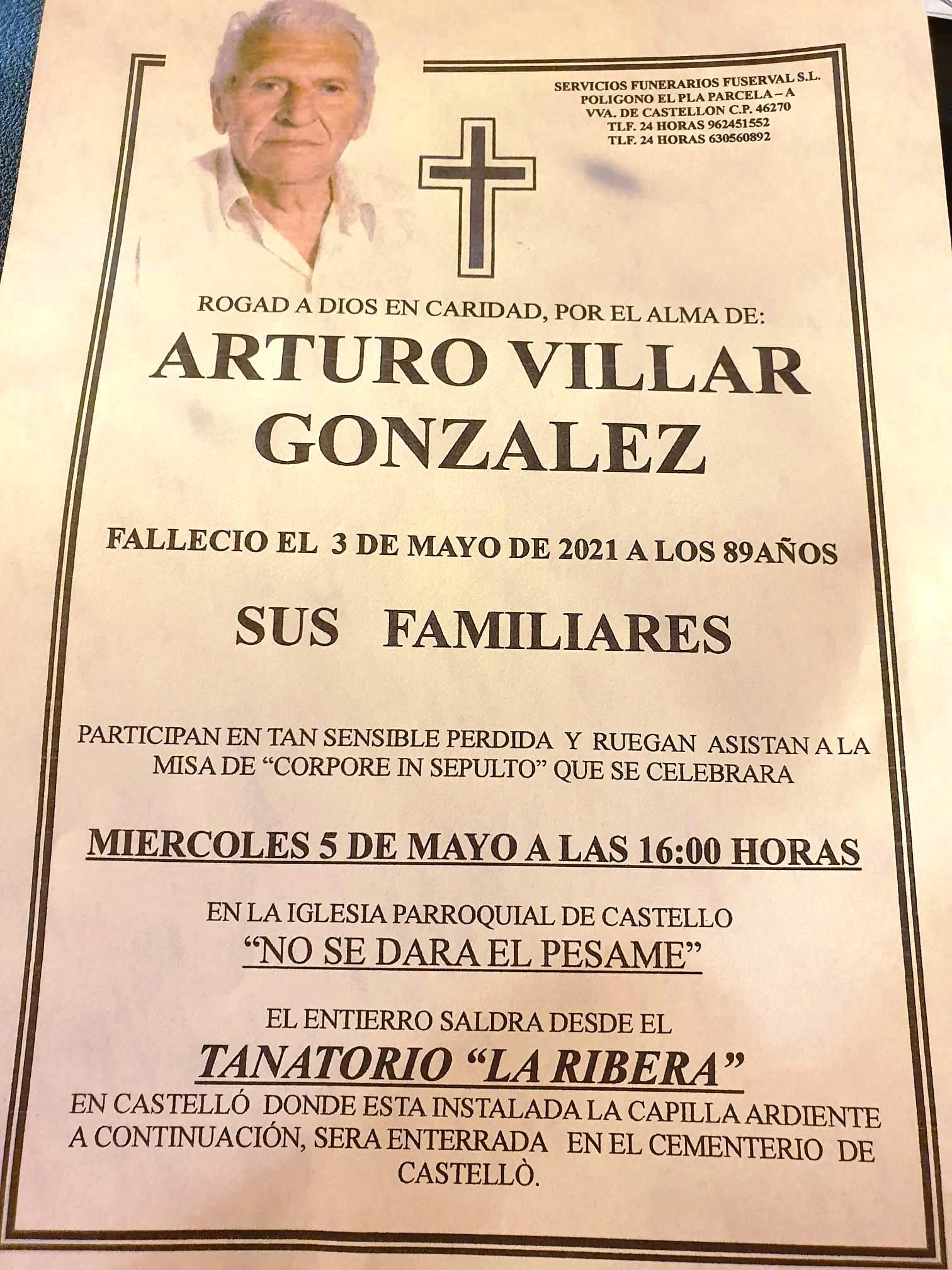 Obituari - ARTURO VILLAR GONZALEZ