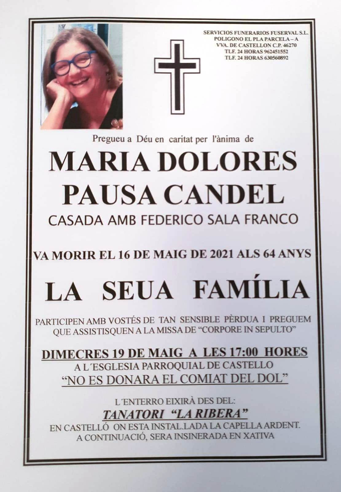 Obituari - MARIA DOLORES PAUSA CANDEL